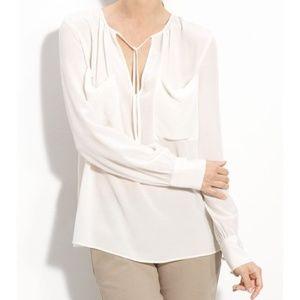 BCBGMaxAzria Joss Off-White Silk Blouse